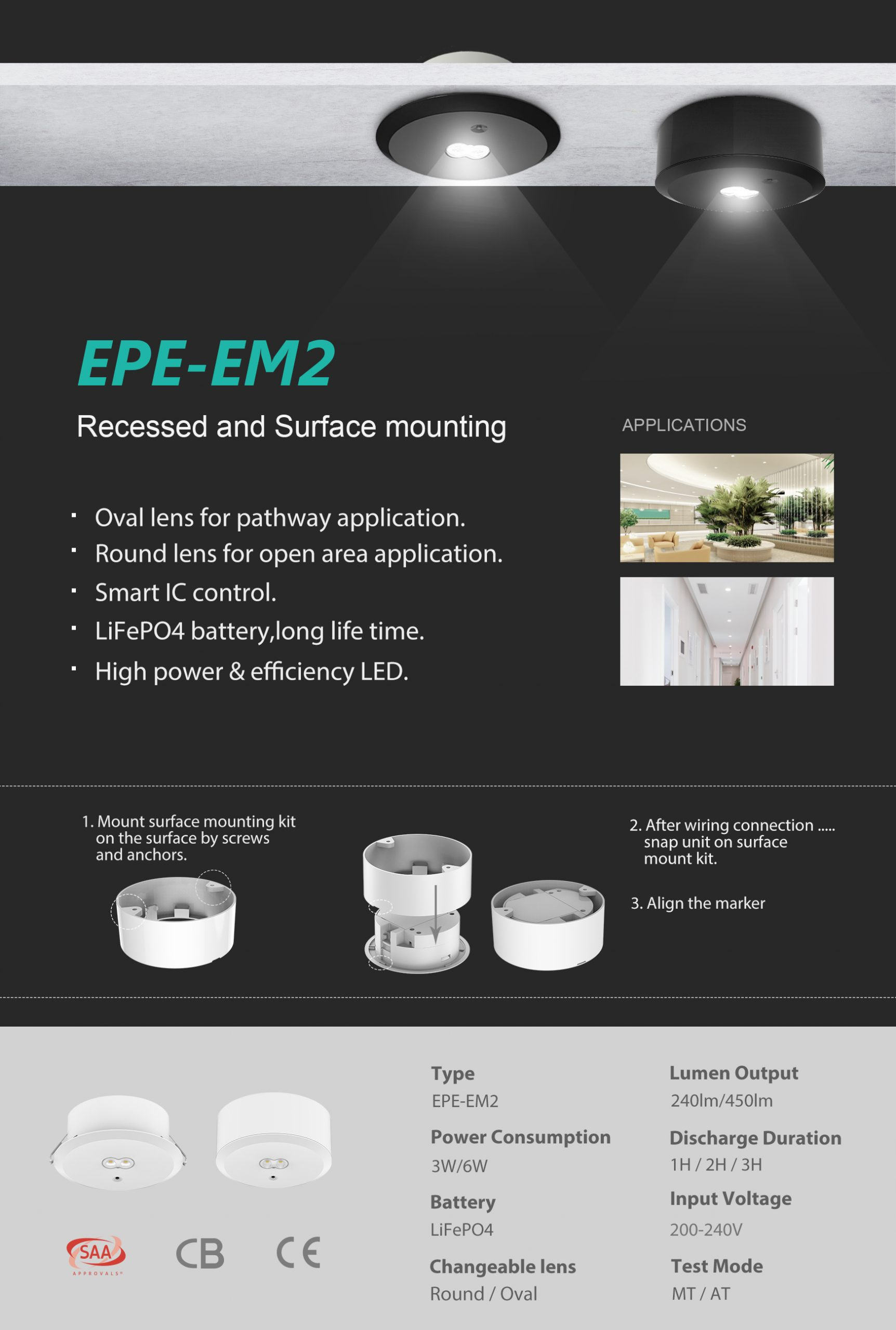 EPE-EM2 LED Emergency Downlight